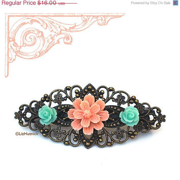50% OFF SALE Peach Flower and Aqua Rosette Filigree Barrette. Hair Accessories by Liz Hutnick