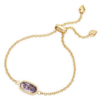 Kendra Scott Elaina Purple Amethyst Gold Adjustable Bolo Bracelet