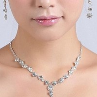 Crystal Shinning Rhinestone Bridal Wedding Party Silver Jewelry Necklace Earring Set