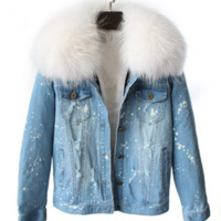 Shae Distressed Denim Fur Jacket White
