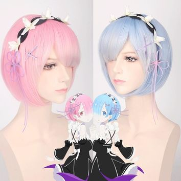 Re:Life In A Different World From Zero Graduated Ram Rem Cosplay Wig for Women Short Straight Pink Blue Anime Wig