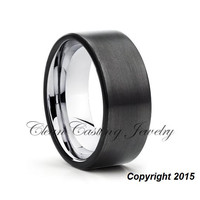 Men's Tungsten Wedding Band, Gunmetal Tungsten Ring, Anniversary Ring, Engagement Band, Black Tungsten Band, Brushed Finish, Comfort Fit, Set