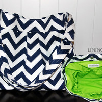 Navy CHEVRON and Lime Diaper Bag