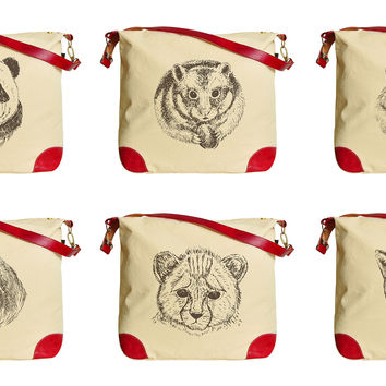 Wild Animals Vintage Style Print Canvas Leather Trap Tote Shoulder Bag WAS_33