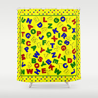 Primary Polka Dots YELLOW Alphabet Shower Curtain by MargaretNewcombArt