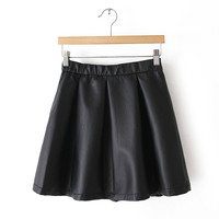Elastic Waist Black Zipper Side Pu Leather Skirt