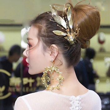 Handmade Butterfly Pearl, Crystal Hair Gold Vine Leaf Bridal Headband