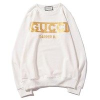 GUCCI x DAPPER DAN Joint name classic printed letter logo round neck pullover sweater White