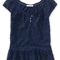Sheer Lace-Front Peplum Top - Aeropostale