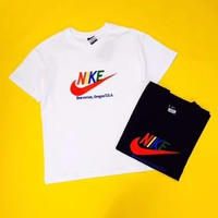 """Nike"" Unisex Casual Vintage Multicolor Letter Logo Embroidery Couple Short Sleeve T-shirt Top Tee"