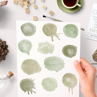 Green Watercolor Clipart Sage Blobs Round Circles. Watercolour graphics for hand painted logo and graphic design Instant Download commercial