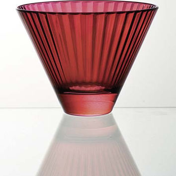 "Majestic Gifts E62493-D-S6 Quality Glass Red Glass Bowl / Stemless Cocktail 11oz. 4.7"" x 3.9"" Set of 6"