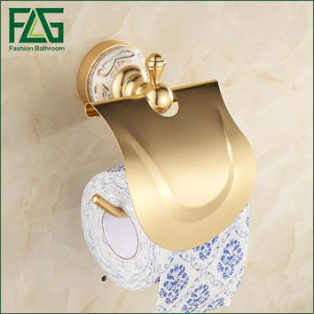 FLG European Space Aluminum Wall Mounted Toilet Paper Roll Holder Gold Toilet Tissue box Paper Towel Rack Bathroom Accessories