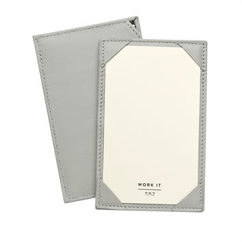 Grey French Calfskin Leather Jotter