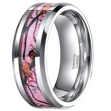 CERTIFIED 6mm 8mm Pink Camo Tungsten Deer Antlers Hunting Camouflage Band