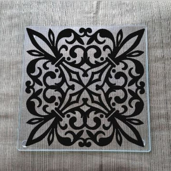 Glass Cutting Board ~ Decorative Embellished Design - Small Cutting Board - Kitchen Supplies