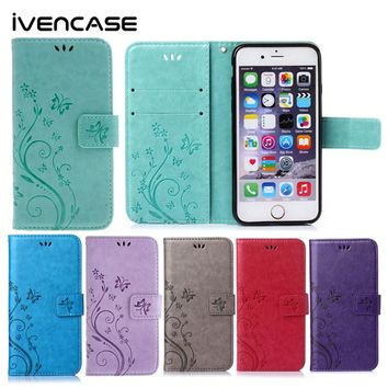 Luxury Case for iPhone 6 6s 5 5s Retro Style Magnetic Leather Wallet Stand Flip Protective Back Cover With Card Slot