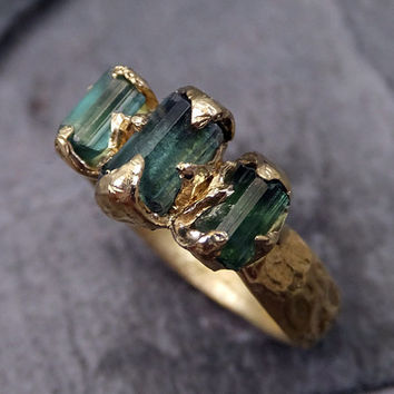 Raw Green Tourmaline Gold Ring Rough Uncut Gemstone tourmaline recycled 18k stacking Multi stone statement byAngeline