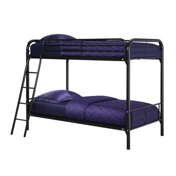 Twin Over Twin Size Black Metal Bunk Bed Frame With Ladder