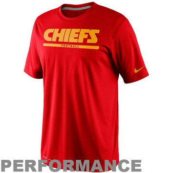 Nike Kansas City Chiefs  Dri-FIT Legend Elite Font Sideline Performance T-Shirt - Red
