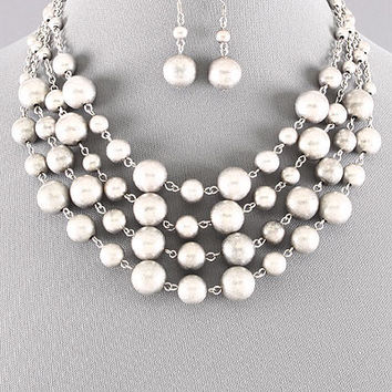 "17"" silver layer metal beads balls collar choker bib boho necklace 1"" earrings"