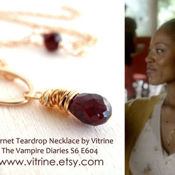 The Vampire Diaries Garnet teardrop Necklace by Vitrine S6 E604 Under 60