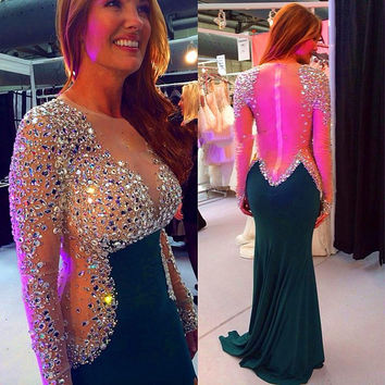 2017 Sexy Sheer Full Sleeves Sweep Floor Mermaid Evening Dress Illusion Back With Luxury Crystal Beading Prom Dress Custom Made