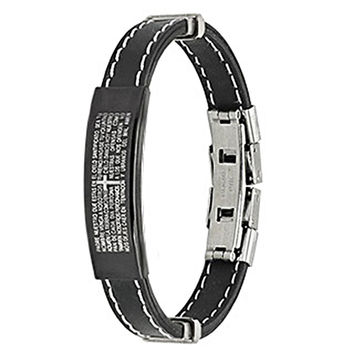 Spikes Accented Black Rubber ID Bracelet with Spanish Lord's Prayer