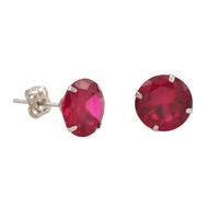 10k White Gold Red Ruby CZ Stud Earrings Cubic Zirconia Round Prong Set