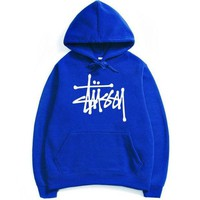 Stussy Letters Hooded Couple Casual Basketball Top Sweater Sweatshirt Blue