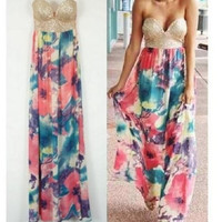New! Lady's Floral Sequin Strapless Boho Long Summer Beach Maxi Dress Sundress = 1651537412