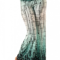 Abstract Crackle Print Wide Palazzo Pants-Ombre Mint