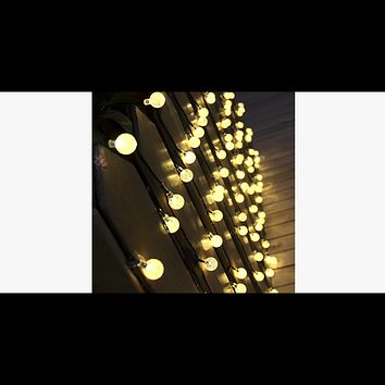 20 Led Solar-Powered Crystal Ball String Lights (Ships From USA)