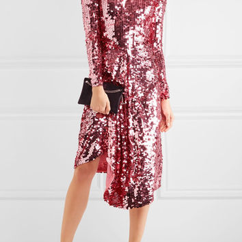 Preen by Thornton Bregazzi - Carlin asymmetric sequined tulle midi dress