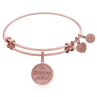 Expandable Bangle in Pink Tone Brass with Brides Maid Symbol