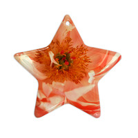 "Pellerina Design ""Blushing Peony"" Coral White Ceramic Star Ornament"
