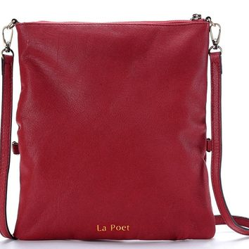 La Poet Women's Leather Foldover Slim Crossbody Bag