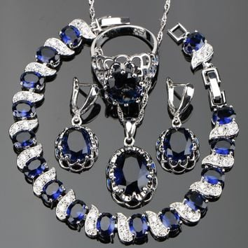 Silver 925 Costume Blue Zircon Jewelry Sets Women Wedding Jewellery With Bracelets Earrings Pendant Necklaces Rings Set Gift Box