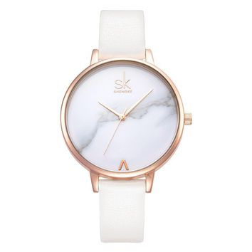 Minimalist Rose Gold Leather Band Watch 38mm