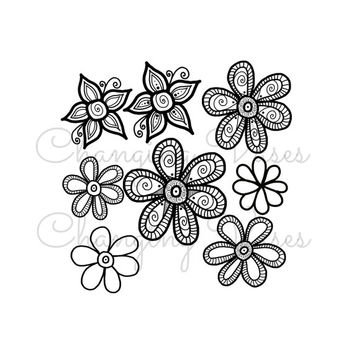 8 Hand Drawn Doodle Flowers Clipart Digital Scrapbooking Clip Art Graphic Illustration Art for Stickers Transfers Cards Prints Commercial ok