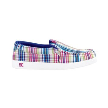 Womens DC Villain TX Skate Shoe, White Madras Plaid, at Journeys Shoes