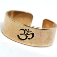 Ohm Ring - Hand Stamped Golden Brass Adjustable Ring