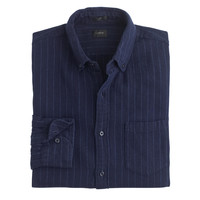 SLIM COTTON-LINEN SHIRT IN PINSTRIPE