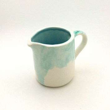 Ceramic turquoise drip glaze creamer, ocean blue glazes blended on inside of creamer