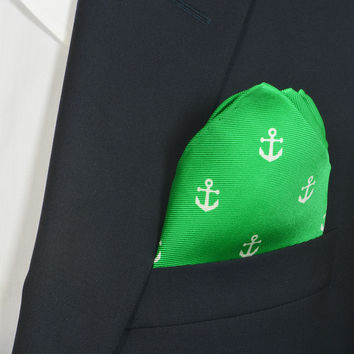 Anchor Pocket Square - Starboard (Green)