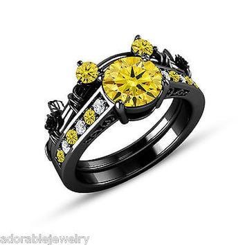 Citrine & White CZ Black On .925 Sterling Mickey Mouse Wedding Bridal Ring Set