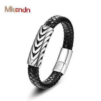 MKENDN High Quality FASHION Men Jewelry Black Leather Bracelet Stainless Steel Punk Anchor Arrows Charm Magnet buckle Bracelet