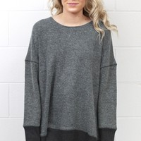 Reverse Stitching Boxy Sweater {Charcoal Mix}