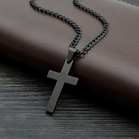 Black Plated Jesus Cross Necklaces & Pendants For Women Gifts Collier Femme 2016 Fshion Stainless Steel Jewelry Cruz Colgante