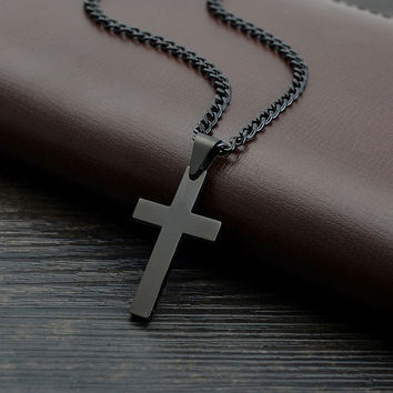 Black Cross Stainless Steel - Necklace